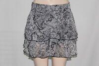 NEW Women's BCBG MAXAZRIA Ruffled Skirt Skirts  SZ 4 Black & Gray 100%Authentic