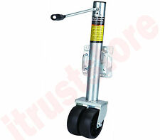 DOUBLE TWIN WHEEL BOAT TRAILER CRANK UP LIFT SWING BACK JACK TONGUE STAND
