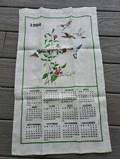 New lis 00004000 ting Vintage Linen Hummingbird Calendar Kitchen Tea Towel 1994 Birds FlowerBrand New