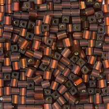 Miyuki Opaco Argento Foderato Dark Topaz 4mm cubo vetro Seme Perline TUBO 20g (B86/3)