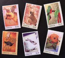 Liberia Woodland Animals Stamps Set 6V 2001 Mnh Raccoon Fauna Bird Ostrich Otter