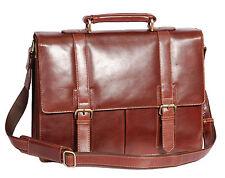 Mens Genuine BROWN Leather Briefcase Business Laptop A4 Bag Office Satchel Bag