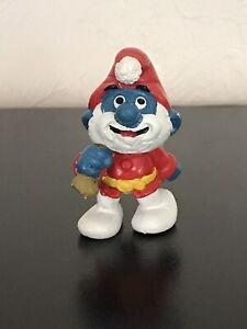 Smurfs 1981 Santa Claus Papa Smurf Vintage Christmas Figure Toy PVC Schleich
