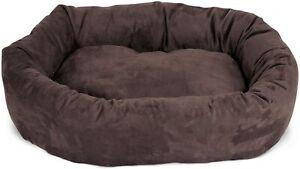 Suede Dog Bed 24-inch Chocolate Bagel Medium Pet Blush Dog Bed