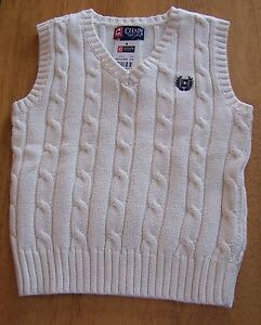 NWT CHAPS IVORY OFF WHITE CABLE KNIT V-NECK SWEATER VEST Size 7  FREE SHIPPING