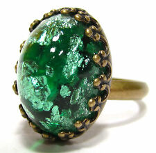SoHo® Ring oval vintage altgold bronze crushed green böhmischer Glasstein 1960´s