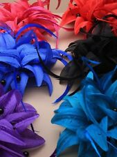 Fabric Fascinator with pointy petals and black beads feathers mounted on a  clip