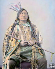 "IRON HORN NATIVE AMERICAN INDIAN HUNKPAPA 1872 8X10"" HAND COLOR TINTED PHOTO"