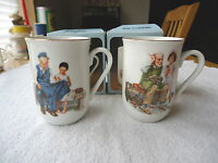 "Vintage Set Of 2 Collectible Norman Rockwell Inspired Mugs "" AWESOME SET "" "" IOB"