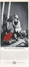 1962 Zeiss Ikon PRINT AD Contaflex Lens & red Case features Safari great decor