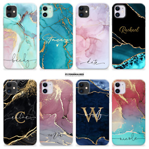 PERSONALISED PHONE CASE INITIALS NAME MARBLE SILICONE COVER FOR IPHONE 12 11 SE