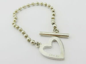 Gucci Sterling Silver Heart Toggle Ball Chain Bracelet