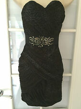 Pixie Lott For Lipsy Black & Brown Leopard Print Sequin Bodycon Dress Size 8