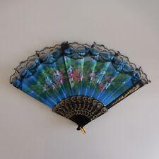 Eventail vintage Art Nouveau Belle époque plastique tissu dentelle métal laiton