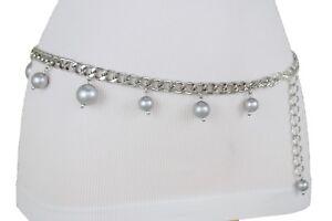 Women Chic Belt Dressy Fashion Hip High Waist Silver Metal Chain Bead Hot XL XXL