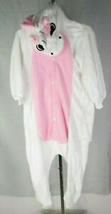 Childrens Pink & White Unicorn Pajama Jump Suit Costume T3