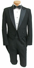 Men's Black Tuxedo Tailcoat 100% Wool with Satin Peak Lapel Formal Wedding Mason