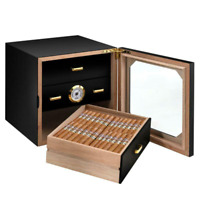80 Cigar Humidor Cabinet 3 Drawer Glass Door Wood Case Hygrometer Humidifier Box