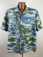 RJC Hawaiian Shirt Men's XL Blue Green Floral Hibiscus Palm Trees Waves Tropical