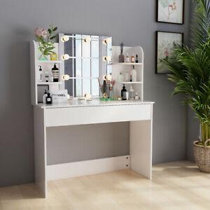 Coiffeuse Table de Maquillage avec Miroir LED et Tiroir Coiffeuse Commode Blanc