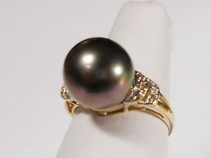 Tahitian black pearl ring, diamonds, solid 14k yellow gold (SPECIAL OFFER).