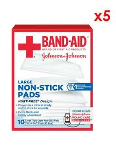 """Band-Aid Brand Large Non-Stick Pads, Triple Layer Pads 3""""x4"""", 10 Ct (PACK OF 5)"""