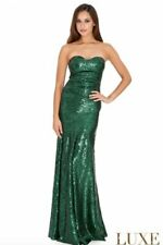 BNWT Goddess Fully Sequinned Strapless Emerald Green UK8 Prom Pageant Occasion