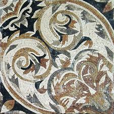 Black Beige Flor Art Table Marble Mosaic Geo1091