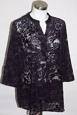 CHICO'S Womens Shirt  Sz 2 PURPLE Flocked Sheer Velvet 3 BUTTONS 3/4 Sleeves Top