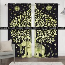 Indian Elephant Mandala Cotton Tab Top Window Valance Drapes Hanging Curtain Set