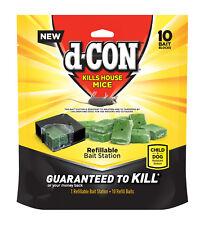 d-CON REFILLABLE BAIT STATION + 10 BAIT BLOCKS KILLS MICE Indoors & Outdoors