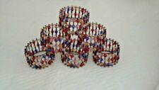Beaded Napkins Rings Red/Blue/White/Orange/Gold Set of 6 Copper Bronze Metal