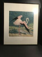 Vintage Carl Theimann Woodblock Cut Flamingo Early 20th Century Art Signed.