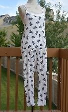 Cropped jersey jumpsuit/pajama w/elephant print by Chelsea Peers, S, multi-color