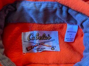 Cabela's Vintage Hunting Shirt Rod and Rifle Label Blaze Orange Size Small