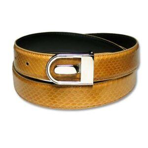 Men's Snake Skin Belt COGNAC Genuine SnakeSkin Bonded Leather Belt & Buckle