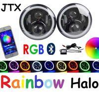 "2PCS RGB LED Halo 7"" Headlights BT Fits Toyota Series Landcruiser HZJ75 75 78 79"