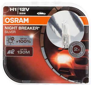 2x H1 Osram Bulbs headlight Night Breaker Silver 100 Halogen 64150nBS bulb lamps