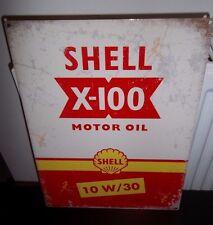 SHELL MOTOR OIL/ X-100, VINTAGE-STYLE METAL SIGN 40X30cm (LARGE) GARAGE/SHED