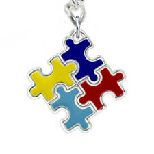 Unisex Autism Awareness Colorful Puzzle Piece Charm Keychain Car Key Ring Gift F