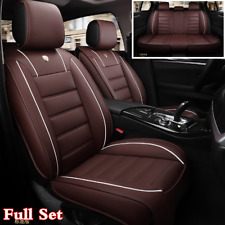 Luxury Coffee PU Leather Full Set Car Seat Cover Cushions Styling Accessories