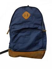 Mens Boys Kids River Island Blue Tan School Bag Rucksack #4