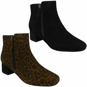 MARILYN BETH LADIES CLARKS SUEDE SMART CASUAL LOW BLOCK HEEL ZIP UP ANKLE BOOTS
