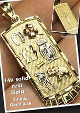 "Good luck 1.50"" 14k SOLID REAL GOLD Pendant Charm 13 Elephant Owl Cross 3.3g"