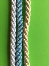 6 mm Cord.  Twisted Satin.  White.  1.4  Metres Long.