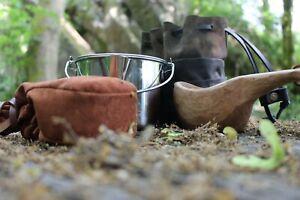🇬🇧 Canvas and leather Billy pot bag zebra  bushcraft
