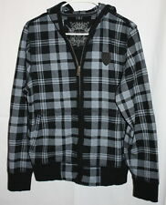 Express Black and Grey Plaid Hooded Light Weight Jacket Size Small 100% Cotton