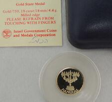Israel 1995 Jewish Holiday - Hanukka State Medal 4.4g Gold +box +COA