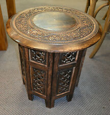 Round Moroccan Brown Burnt  lamp table side table beside Indian table
