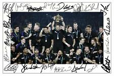 NEW ZEALAND ALL BLACKS 2015 RUGBY WORLD CUP WINNERS SIGNED A4 PP POSTER PHOTO